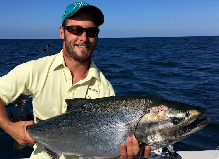 Lake Ontario king Salmon caught on Midway Fishing charters.